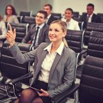 Smart businesswoman at confee