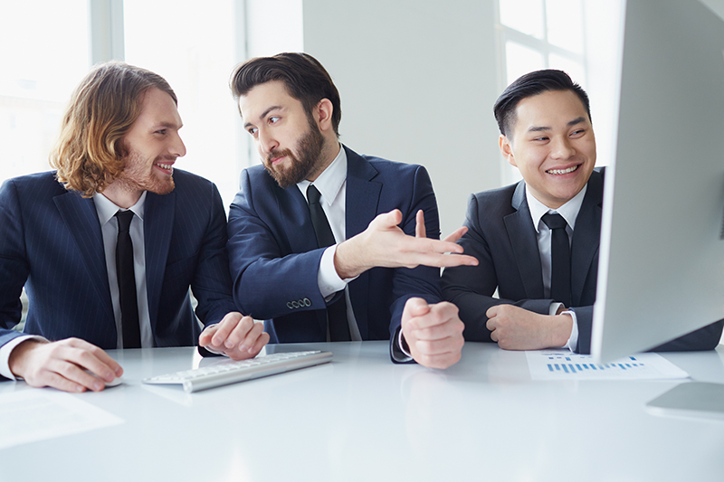 Three businessman planning business in meeting room